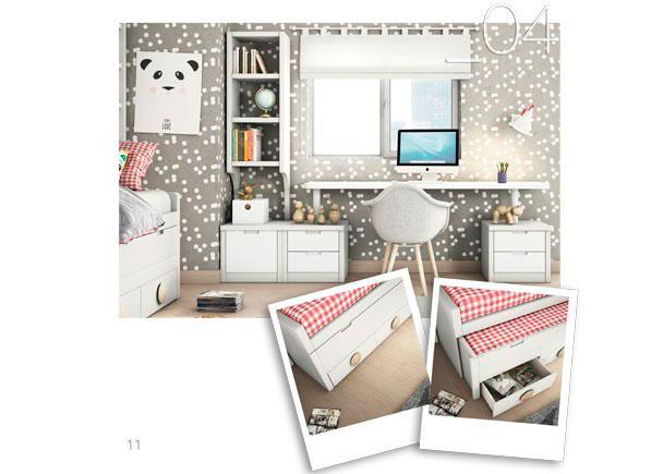 Este ambiente corresponde a la zona de estudio integrada en un dormitorio juvenil, con librería y módulos bajos.