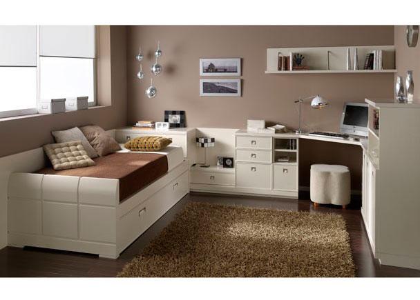 Habitación juvenil lacada blanca con un diseño elegante que no pasará de moda.