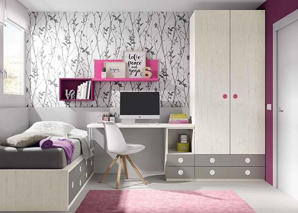 <p>Habitación infantil equipada con un compacto bajo con base de 4 cajones y 2 contenedores. El ambiente cuenta además con un armario de dos puertas y dos cajones vistos y zona de estudio.</p>