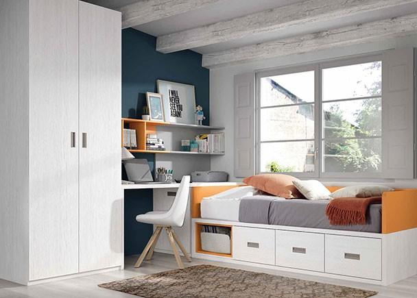 <p>Dormitorio infantil con cama nido, arc&oacute;n extra&iacute;ble, armario y zona de estudio.</p>