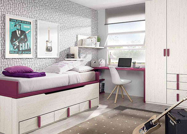 <p>Dormitorio juvenil con compacto bicama con base de 3 cajones. El ambiente cuenta además con una zona de estudio y un armario con cajones vistos.</p>