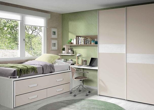 <p>Dormitorio Infantilcon compacto bicama; cama superior fija de 90 x 190 y cama inferior deslizable de 90 x 180, con base de 2 cajones de 24,7 h. El ambiente cuenta además con zona de estudio y un armario de puertas correderas.</p>