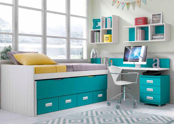 <p>Este Dormitorio Infantil, ha sido equipado con una cama compacta con deslizante de frente cerrado y nido con dos baúles.</p>
