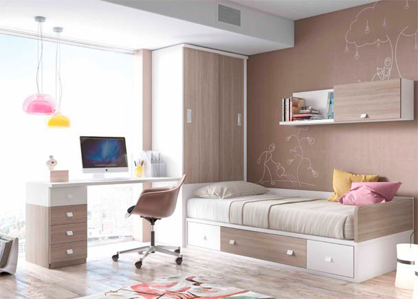 <p>Dormitorio Juvenil con compacto con base de 2 contenedores y un baúl. Cuenta con arcón de puerta extraíble, escritorio y armario apilable.</p>
