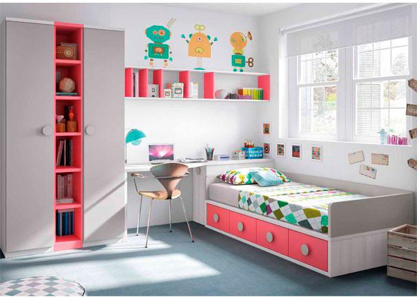 <p>Habitación infantil con compacto bajo de 4 cajones. En la cabecera tiene un arcón de puerta extraíble, escritorio y composición mural, librería y armario.</p>