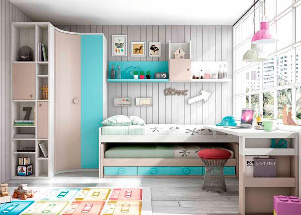 Dormitorio Infantil con compacto de 4 cajones y cama deslizante. Cuenta con armario rinconero + terminal y escritorio de sobre recto.