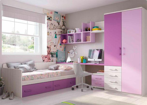 Dormitorio infantil con cama nido con brazos y respaldo recto y 2 cajones con ruedas. Cuenta con armario sinfonier, escritorio y arcón de puerta extra&ia
