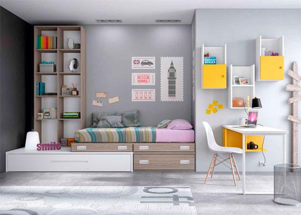 <p>Habitación Juvenil de línea modular con cama nido con somier de arrastre, cajones, librería apilable y zona de estudio con escritorio recto de 151 cm</p>