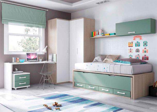 <p>Habitación infantil con armario rincón y compacto con deslizante + cajones. El escritorio de sobre recto mide 151 cm.</p>