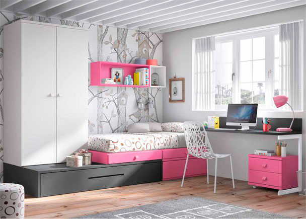 <p>Dormitorio Juvenil de l&iacute;nea modular con cama nido con somier de arrastre, cajones, armario apilable y zona de estudio con escritorio recto de 151 cm</p>