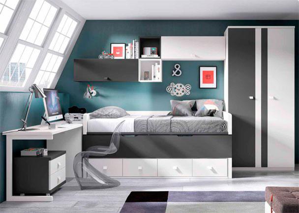 Habitación Juvenil con compacto de dos camas y 4 cajones. Cuenta con Escritorio, un Arcón de puerta extraíble y Armario de 2 puertas.