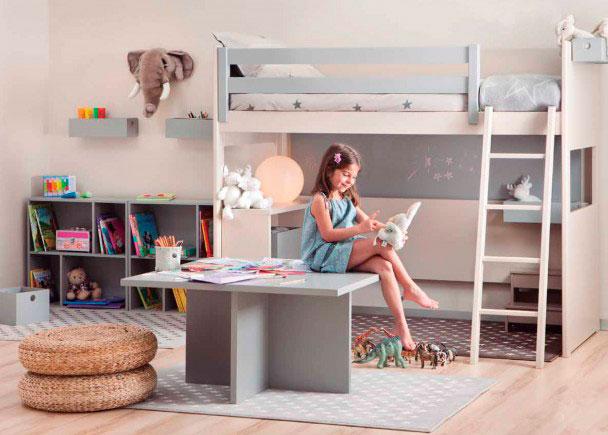 Habitación juvenil Habitación infantil con litera Loft lisa con friso de altura XL, para colchón de 90 x 190. La cama deja la parte inferio