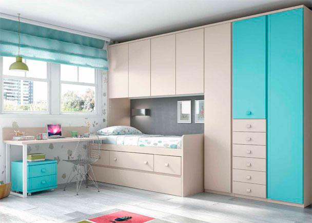 <p>Habitacion Infantil, con cama nido con dos cajones y un contenedor central. + Armario de 3 cuerpos con sinfonier de 6 cajones y escritorio.</p>