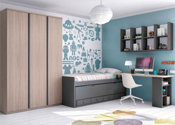 <p>Habitacion Juvenil, con cama compacta con deslizante de frente cerrado y 4 cajones + Armario de 3 puertas y escritorio.</p>