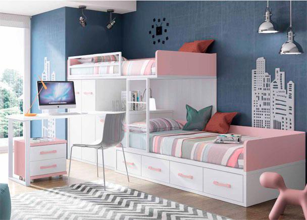 <p>Dormitorio infantil con 2 camas tipo Tren. La cama inferior es un nido de 4 cajones. Dispone de arcón zapatero, módulo de cajones, armario y escritorio.</p>