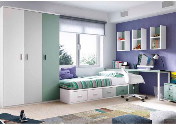 <p>Juvenil con cama compacta de 4 cajones, arcón de puerta extraíble, zona de estudio y armario de 3 puertas.</p>