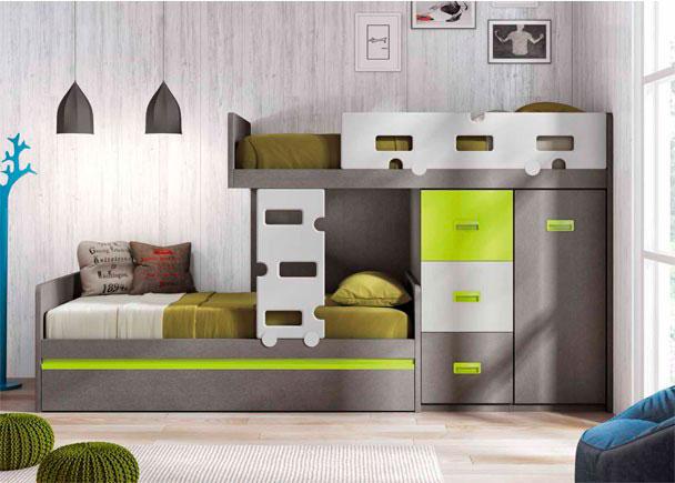 <p>Habitación infantil con camas tipo Tren. Cama nido inferior con somier de arrastre + módulo blok de 3 contenedores y armario de 1 puerta.</p>