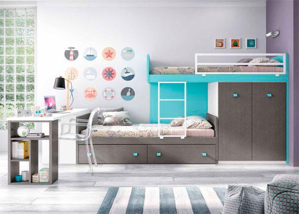 <p>Dormitorio infantil con camas tipo Tren. Cama nido inferior con 2 cajones + módulo Block de 2 puertas + escritorio de 220,5 cm</p>