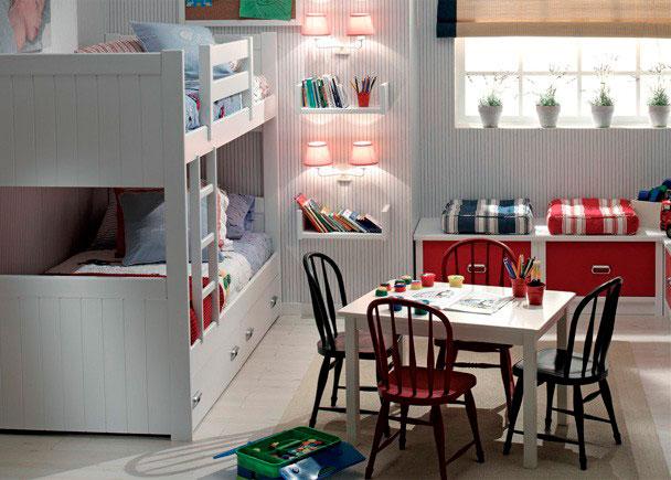 <p>Dormitorio Infantil con Literas y zona de juegos. El nido inferior puede ser de 2 y 3 cajones o con una cama nido.</p>