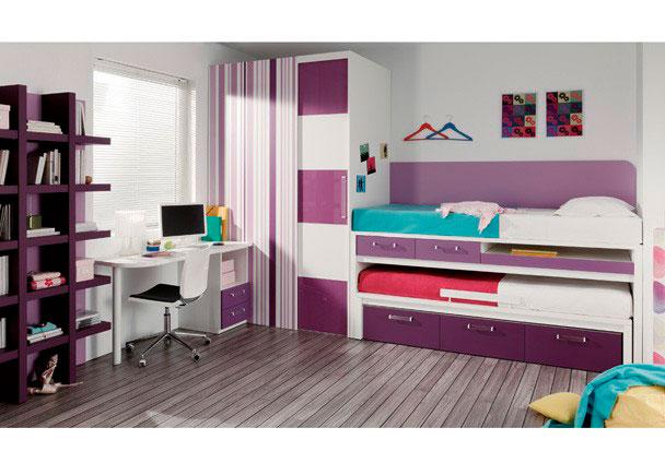 <p>Habitación Infantil dos camas y cajones. Tiene una zona de estudio con mesita de 2 cajones y hueco. Armario rincón vestidor con puerta corredera.</p>