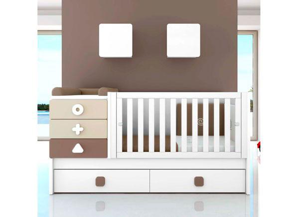 <p>Dormitorio de beb&eacute; de la serie MATHS equipada con Cuna convertible con cajones modelo MATHS.</p>