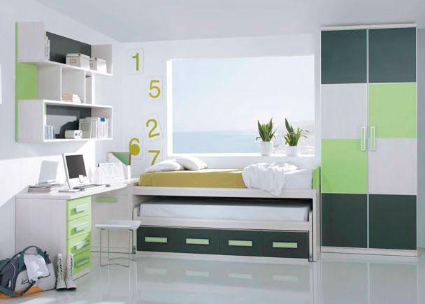 <p>Dormitorio juvenil con camas deslizantes con cajones, escrito