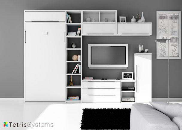 Salón modular de linea italiana que integra una cama abatible vertical.Los elementos que componen este ambiente son:Cama abatible vertical para colch&oac