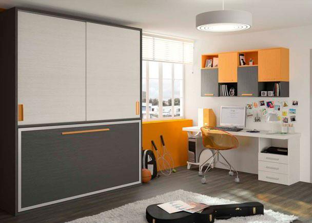 <p>Dormitorio juvenil con cama abatible y armario corredero encima, escritorio recto con cajonera y soporte y elementos colgados cerrados y abiertos.</p> <p>&nbsp;</p> <p>Los elementos que componen este ambiente son los siguientes:</p> <p>&nbsp;</p> <p>-Cama abatible Horizontal para colch&oacute;n de 90 x 190, con armario superior de puerta correderas.&nbsp;<br />Medidas: 202,1 de ancho x 55 F x 242,8 h. <br />Al abrir abate 124 cm desde el fondo de pared. <br />Distribuci&oacute;n Interior: <br />La parte inferior dispone de un estante. <br />***NOTA*** <br />Admite un colch&oacute;n de m&aacute;ximo 23 cm h. <br />Incluye Funda N&oacute;rdica (especificar modelo). <br />El tirador ser&aacute; siempre embutido</p> <p>&nbsp;</p> <p>-Galer&iacute;a en H combinada (4 puertas y 4 huecos). <br />Medidas: 160 x 31 F x 80 h. <br />Se compone de dos partes acoplables superpuestas&nbsp;<br />***NOTA*** <br />Puede variarse el color de cada media estructura as&iacute; como el de las traseras y las puertas.&nbsp;<br />-Escritorio de sobre Recto. Medidas: 200 x 60 x 3 cm de espesor.&nbsp;<br />-M&oacute;dulo bajo sin tapa de 3 cajones + 1 hueco para apoyo de escritorio. <br />Medida: 50 x 42 F x 73,2 h&nbsp;<br />-Pata y soporte para CPU&nbsp;</p>
