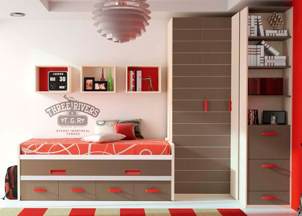 <p>Habitación infantil con armario rincón de puertas plegables, zapatero con estantería en el terminal y compacto de 2 camas con 4 cajones.</p>