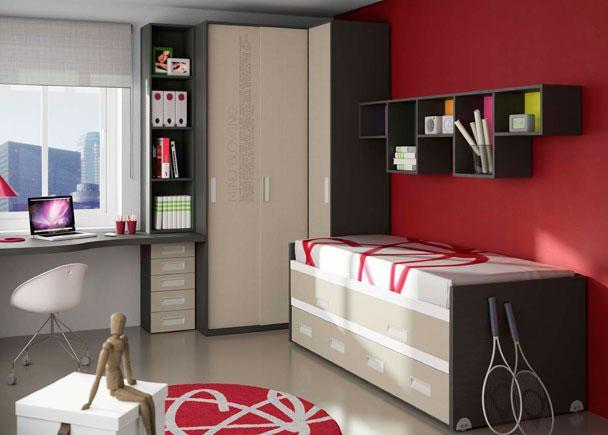 Dormitorio con novedoso armario de rincón con puertas correderas. Compacto de doble cama en el que ambas son deslizantes y 4 cajones y zona de estudio