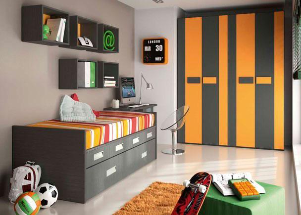 <p>Habitación infantil con cama compacta para colchón de 90*190 con cajones y cama nido de lineas rectas. Armario de 4 puertas de 2 metros y mesa de estudio con estanterías de cubo.</p>
