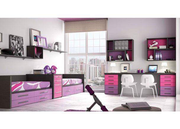 Habitación infantil doble con 2 camas y cama nido para los amigos o las visitas con una amplia zona de estudio doble, pudiendo adaptar las medidas a su n