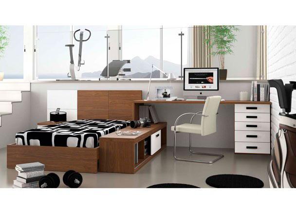 <p>Dormitorio juvenil en el que puedes elegir todo, los colores y su combinación, el tamaño de los elementos, la distribución, etc.</p>