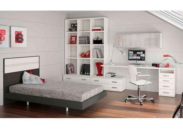 <p>Habitación infantil de diseño supermoderno con amplia zona de estudio ajustable a las medidas de tu habitación así como las medidas de la cama.</p>