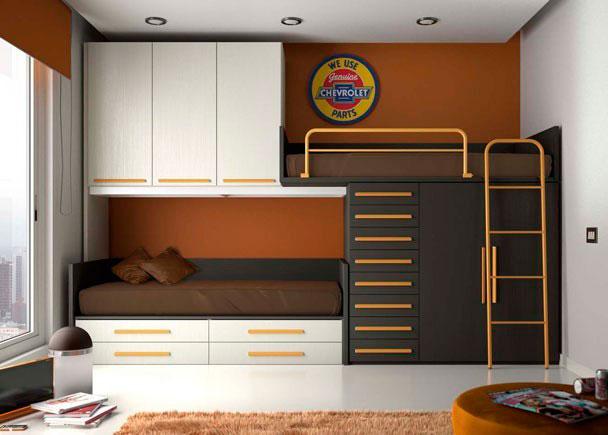 <p>Habitación infantil sistema tren con 2 camas útiles y con gran capacidad de armarios y cajones utilizando una sola pared de la habitación.</p>