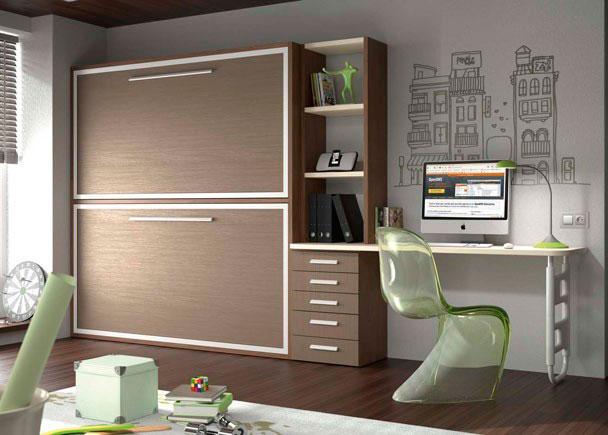 <p>Habitación infantil con litera abatible horizontal de 2 camas de muy buena calidad pensada para el día a día con mesa de estudio .</p>