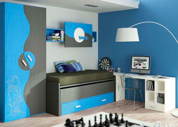 <p>Habitación infantil con un compacto de 2 camas más 2 cajones con armario de puertas esfera de diseño muy original. El dibujo láser y la estantería con el nombre personalizado.</p>