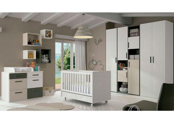 <p>Dormitorio para beb&eacute;s equipado con una bonita cuna del modelo CHIP en color nieve con detalles en piedra y pizarra.</p>