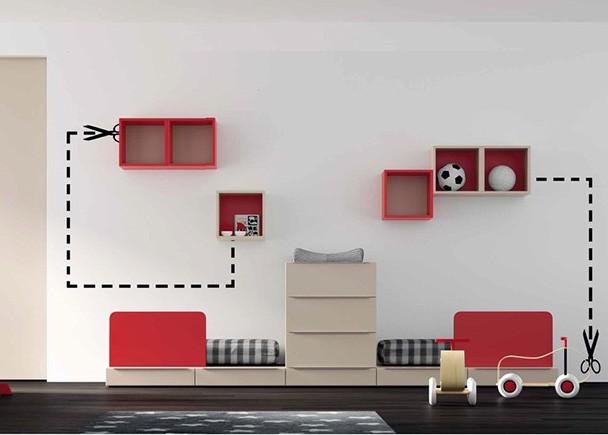Dormitorio infantil con 2 cunas convertibles con cajones y barandilla tapizada, ideal para gemelos o mellizos