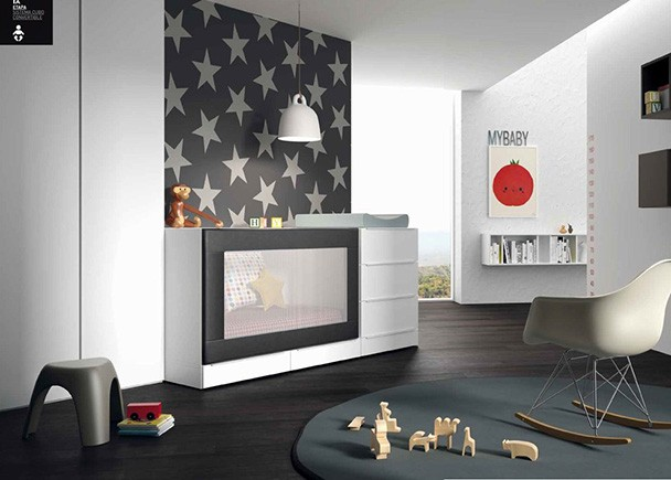 <p>Dormitorio infantil con cuna modular convertible. Los cajones apilables permiten ir adaptando los m&oacute;dulos a la medida que necesite el beb&eacute;.</p>
