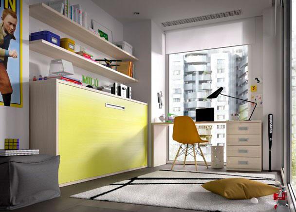 <p>Dormitorio juvenil con cama abatible horizontal para colchón de 90 x 190 y escritorio de sobre recto con cajonera inferior.</p>