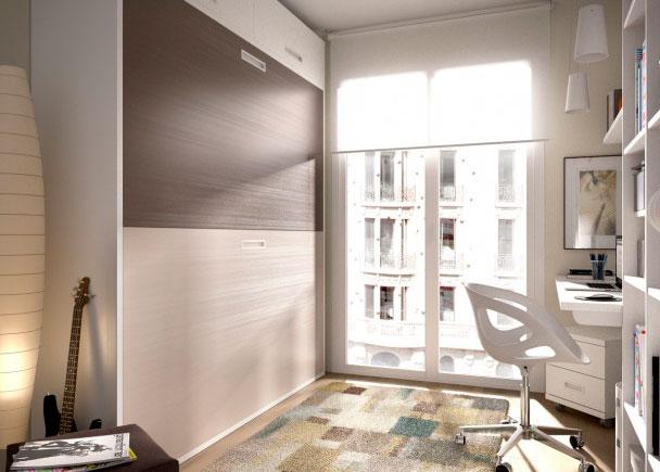 <p>Dormitorio Infantil con Litera abatible horizontal para colchones de 90 x 190 con Altillo de puertas elevables.</p>