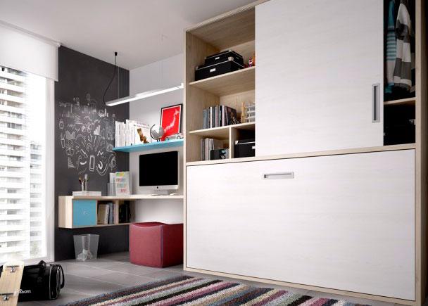 <p>Juvenil con cama abatible horizontal para somier de 90 x 190 en la parte inferior. La zona superior se divide en dos cuerpos: Armario + Librería.</p>