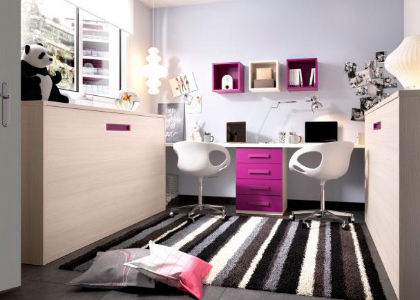 <p>Habitaci&oacute;n Juvenil con 2 camas abatible horizontales de 90 x 190 y zona estudio doble con escritorio recto de 3 metros.</p>