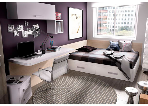 Habitación Juvenil con Arcón elevable para colchón de 135 x 190 y escritorio recto con panel inferior.