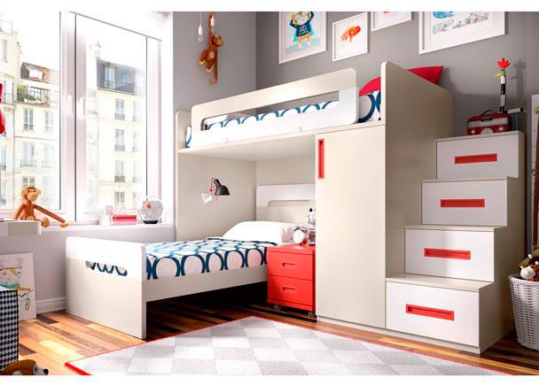 Habitación infantil equipada con una cama alta sobre Armario base Block de 1 puerta + una cama con cabezal y Escalera de 4 peldaños.