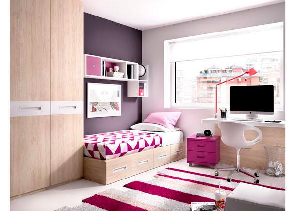 <p>Dormitorio juvenil con cama modular de cajones + Armario + Escritorio de sobre recto modelo DOWN con panel inferior.</p>