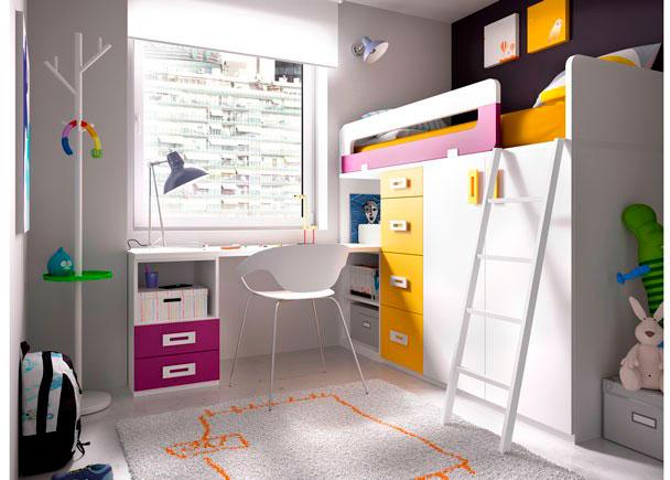 <p>Habitación Juvenil con Cama alta sobre 3 módulos Block + Librería y Escritorio recto de 202 cm.</p>