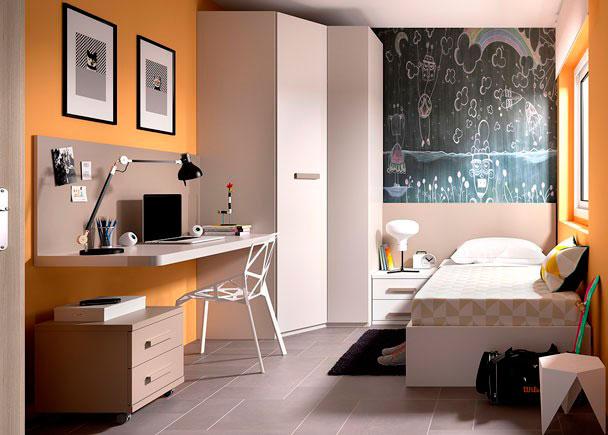<p>Juvenil con cama arc&oacute;n para colch&oacute;n de 90 x 190 con tapa elevable + Armario rinconero + escritorio de sobre recto modelo UP con panel superior.</p>