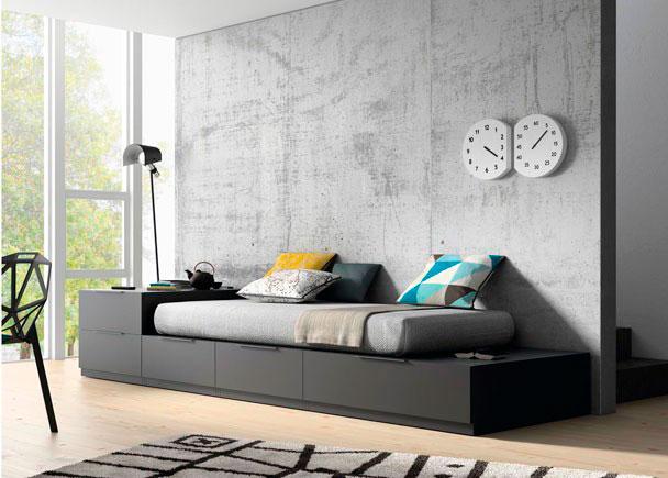 <p>Salón con cama con cajones y escritorio integrado totalmente modular.El precio valorado es de la estructura de cama con todos los cajones</p>